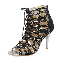 Femmes PU Talon stiletto Sandales Escarpins avec Rivet chaussures