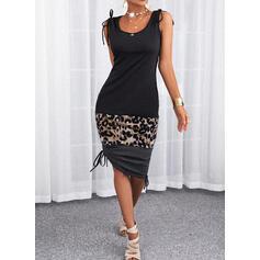 Color Block/Leopard Sleeveless Sheath Casual Midi Dresses