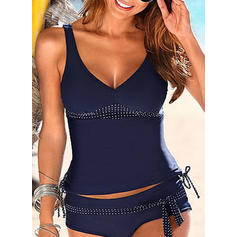 Dot Blouson Strap V-Neck Sexy Plus Size Tankinis Swimsuits