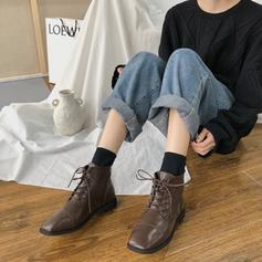 Women's PU Low Heel Ankle Boots With Lace-up shoes
