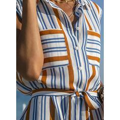 Ριγέ Αμάνικο Μεσάτο Πάνω Από Το Γόνατο Καθημερινό/Διακοπές Сукні