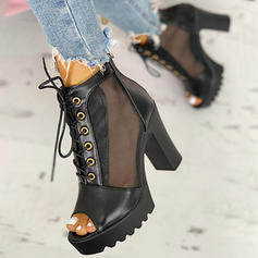 Women's PU Chunky Heel Peep Toe With Lace-up shoes