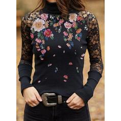Drucken Blumen Spitze Stehkragen Lange Ärmel Elegant Blusen