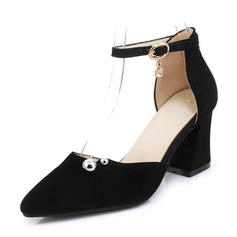 Women's Suede Chunky Heel Sandals Pumps Closed Toe Mary Jane With Buckle shoes