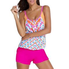 Colorful Triangle U Neck Beautiful Plus Size Tankinis Swimsuits