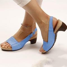 Femmes PU Talon bottier Sandales À bout ouvert Escarpins Chaussons avec Boucle chaussures