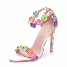 Women's Leatherette Stiletto Heel Sandals Pumps Platform Peep Toe With Applique Buckle shoes