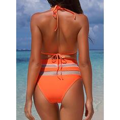 Taille Haute Épissage Couleur Dos Nu Sexy Jolis Classique Attrayant Bikinis Maillots De Bain
