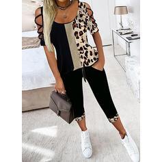 Leopard Color Block Pluss størrelse Sexy Blouse & To-delt antrekk sett