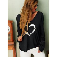 Print Heart V-Neck Long Sleeves Casual Knit T-shirts