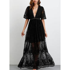 Lace/Solid 1/2 Sleeves A-line Maxi Little Black/Party Dresses