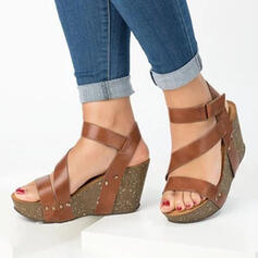 Women's PU Wedge Heel Sandals Peep Toe With Velcro shoes