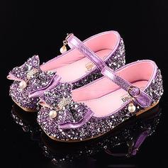 Fille de similicuir Glitter mousseux talon plat bout rond Bout fermé Sandales Chaussures plates Chaussures de fille de fleur avec Bowknot Velcro