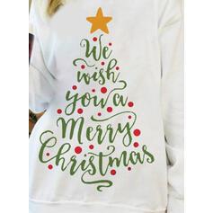 Drucken Figur Rundhals Lange Ärmel Weihnachts-Sweatshirt