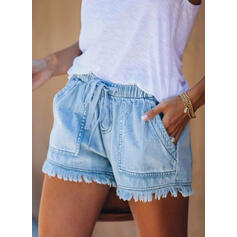 Pockets Drawstring Above Knee Casual Shorts