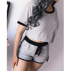 Round Neck Short Sleeves Solid Color Casual Attractive Top & Short Sets