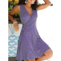 Print Sleeveless A-line Knee Length Casual/Vacation Dresses