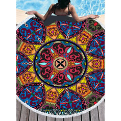 Retro/Vintage/Geometric Print Oversized/round Beach Towel