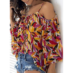 Print Cold Shoulder 3/4 Mouwen Casual Blouses
