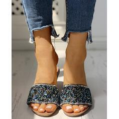Donna PVC Senza tacco Sandalo Punta aperta Ciabatte con Strass scarpe
