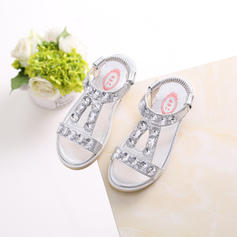 Girl's Leatherette Flat Heel Peep Toe Sandals Flats Flower Girl Shoes With Rhinestone