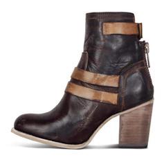 Vrouwen PU Chunky Heel Pumps Closed Toe Laarzen met Gesp Rits schoenen