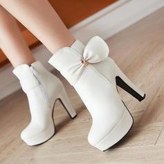 Femmes PU Talon stiletto Escarpins Bout fermé Bottes avec Bowknot chaussures