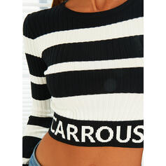 Color Block Letter Round Neck Casual Sweaters