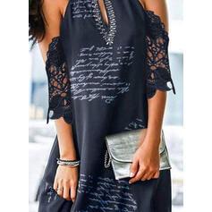 Lace/Print/Letter 1/2 Sleeves Shift Above Knee Elegant Dresses