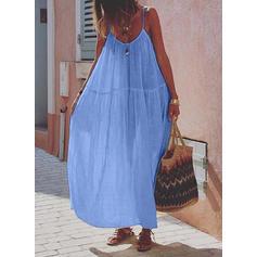 Μονόχρωμο Αμάνικο Αμάνικο Καθημερινό/Διακοπές Μάξι Сукні