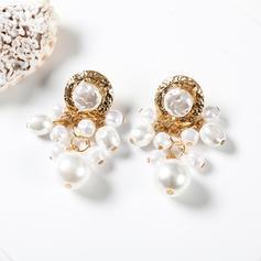 Glänzende Legierung mit Nachahmungen von Perlen Ohrringe