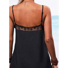 Encaje/Sólido/Escotado por detrás Sin mangas Tendencia Sobre la Rodilla Pequeños Negros/Casual Camisón Vestidos
