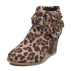 Women's PU Chunky Heel Ankle Boots With Rivet Zipper shoes