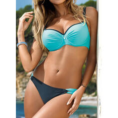 Splice color Ruffles Strap V-Neck Detachable Sports Plus Size Casual Bikinis Swimsuits