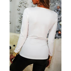 Solid V-Neck Long Sleeves Casual Basic Blouses