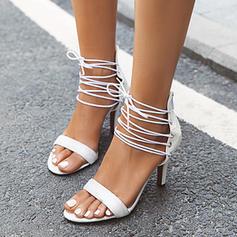 Frauen Kunstleder Stöckel Absatz Sandalen Absatzschuhe Peep Toe mit Zuschnüren Schuhe