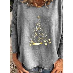 印刷 ラウンドネック 長袖 カジュアル クリスマス Tシャツ