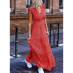 Print Cap Sleeve A-line Skater Casual/Vacation Maxi Dresses