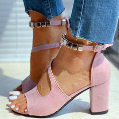 Mulheres Camurça Salto robusto Sandálias Peep toe com Oca-out Cor sólida sapatos