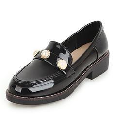 Femmes Similicuir Cuir verni Talon plat Chaussures plates avec Strass chaussures