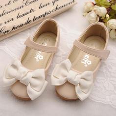 Fille de similicuir talon plat bout rond Mary Jane Chaussures plates Chaussures de fille de fleur avec Bowknot Velcro