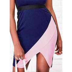 Colorblock Ujjatlan Testre simuló ruhák Térd feletti Hétköznapokra φορέματα