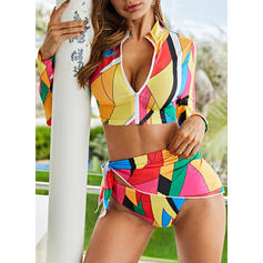 Print Long Sleeve Long-sleeve V-Neck Sexy Attractive Plus Size Bikinis Swimsuits