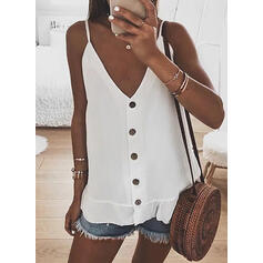 Solid Spaghetti Strap Sleeveless Button Up Casual Sexy Tank Tops