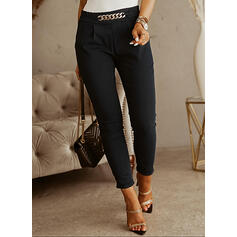 Solid Cropped Plus Size Office/Business Chains Pants