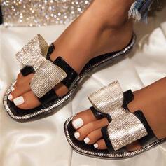 Femmes Similicuir Talon plat Sandales Chaussons avec Bowknot Pailletes scintillantes chaussures