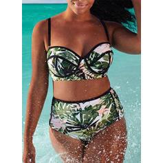 Tropiskt tryck Rem Extra stor storlek bikini Baddräkter