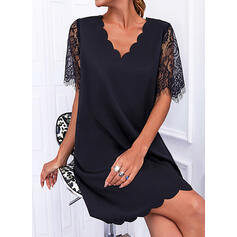 Solid Lace Short Sleeves Shift Above Knee Little Black/Casual Tunic Dresses