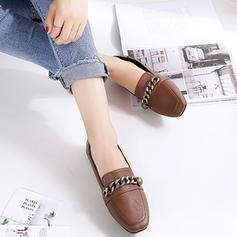 Femmes Similicuir Talon plat Chaussures plates Bout fermé avec Chaîne chaussures