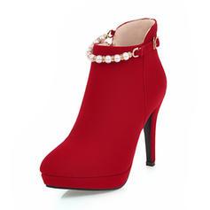 Femmes Suède Talon stiletto Escarpins Plateforme Bout fermé Bottes Bottines avec Perle d'imitation Zip Chaîne chaussures